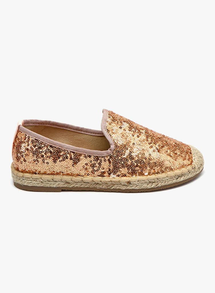 Highly Sequined Gold Slip On