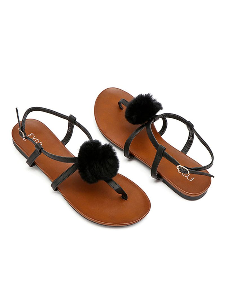 Black Fluff Buckle Up Sandal