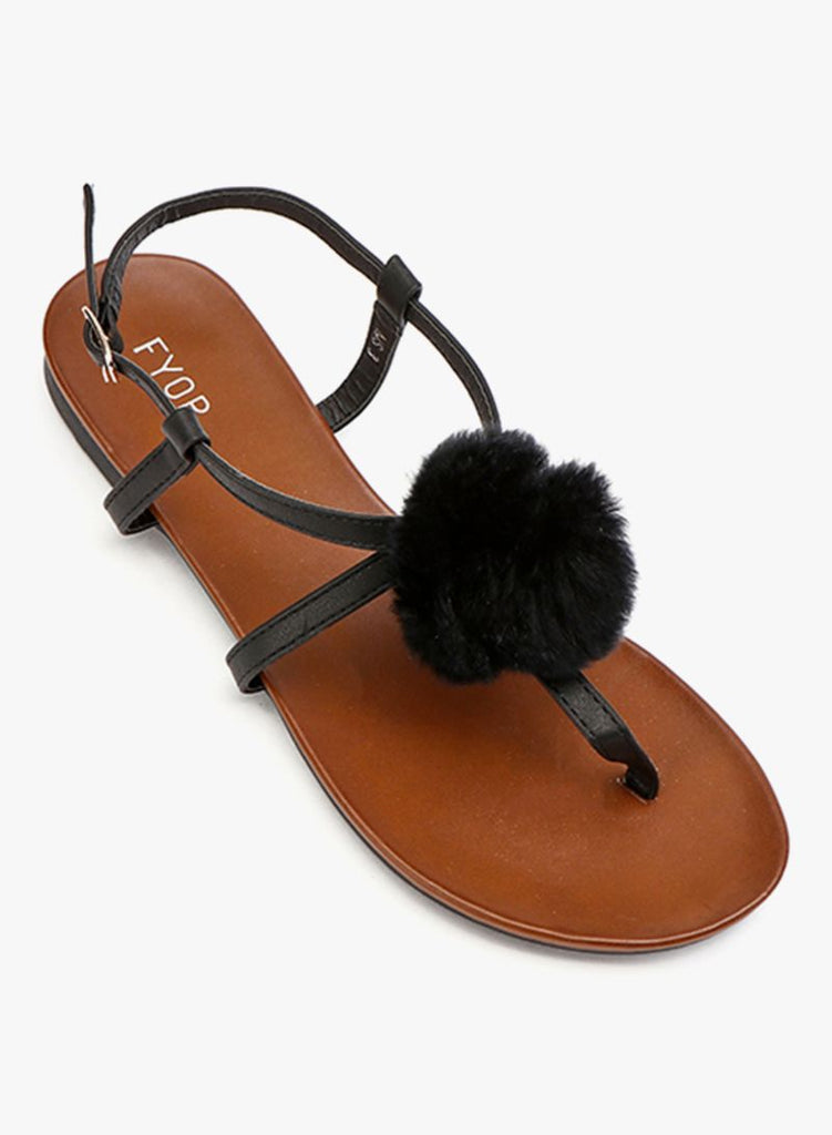 Orange Fluff Buckle Up Sandal