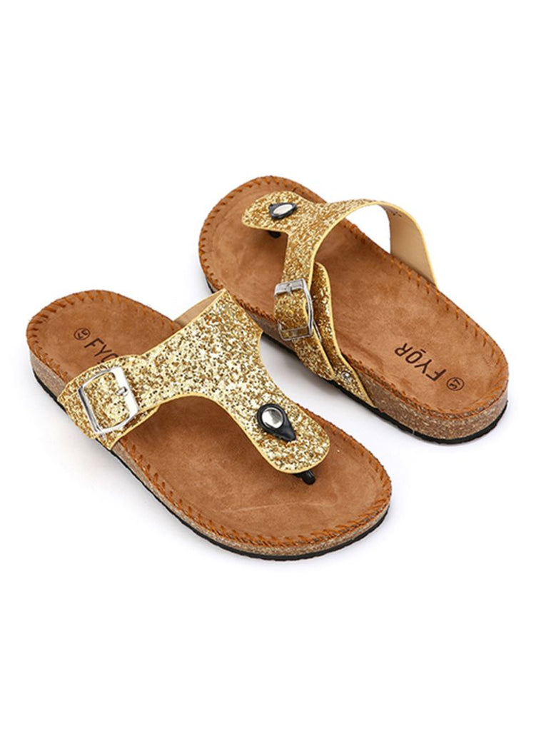 Casual Shimmer Gold Slides