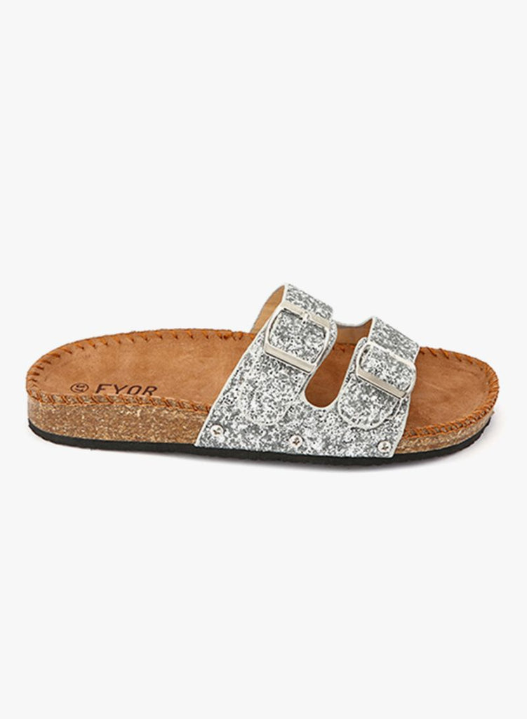 Shimmer silver Buckle Up Slides