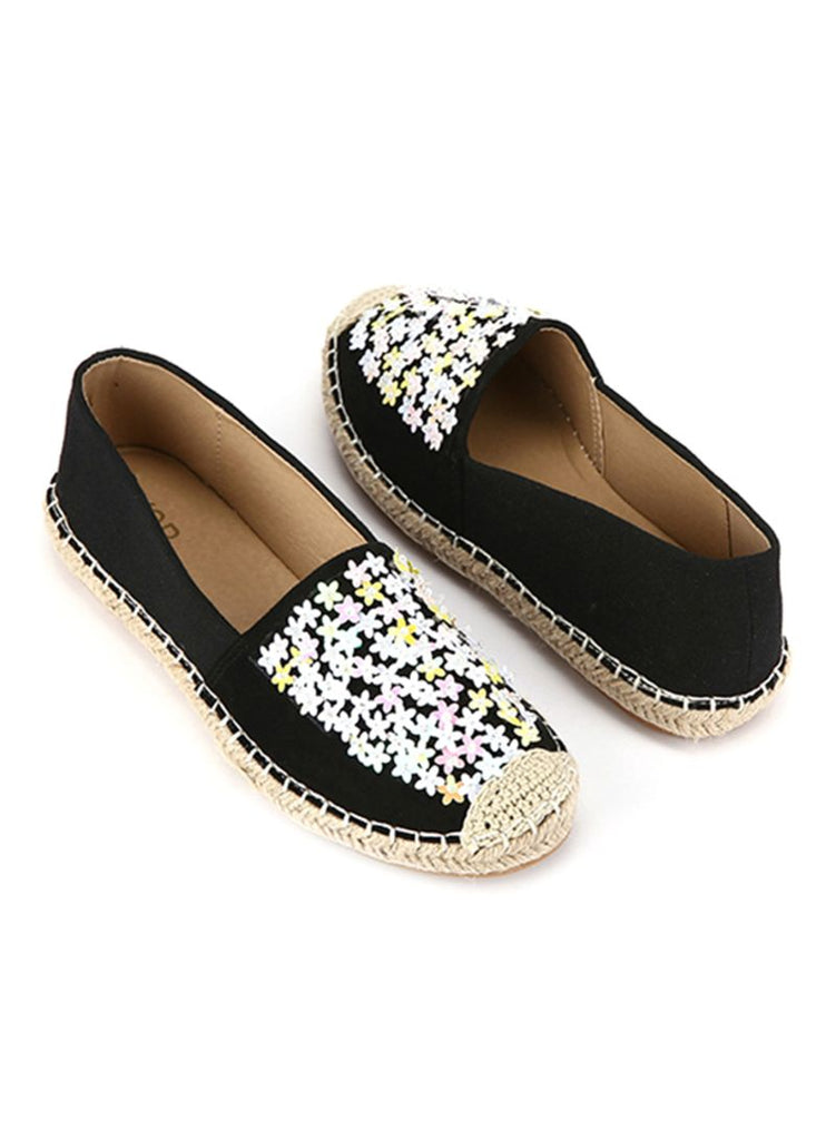 Denim Mini Black Floral Slip On