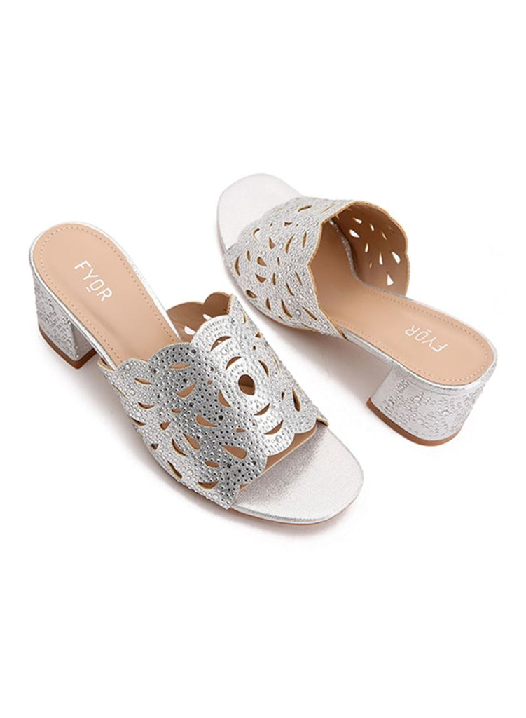 Studded Silver Block Heeled Sandals