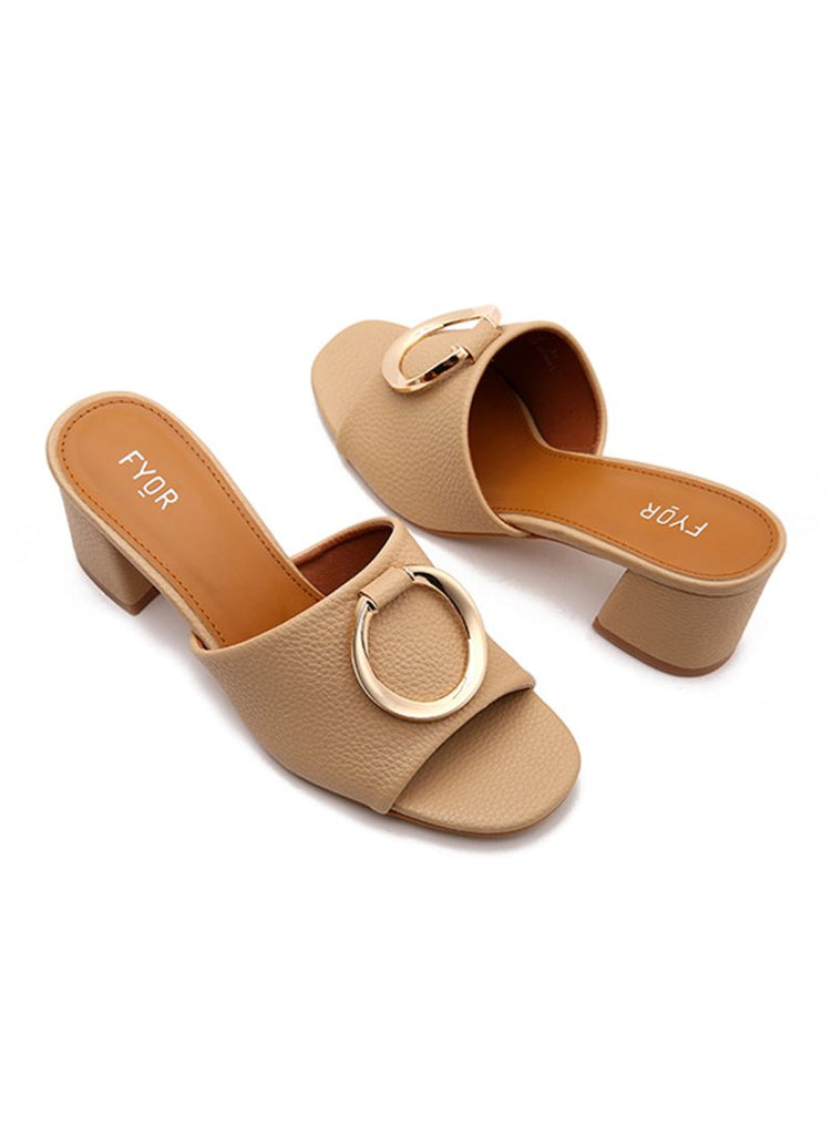 Ring Block Heeled Beige Sandals