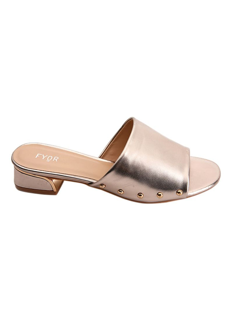 Metal Studded Block Heel Sandal Gold