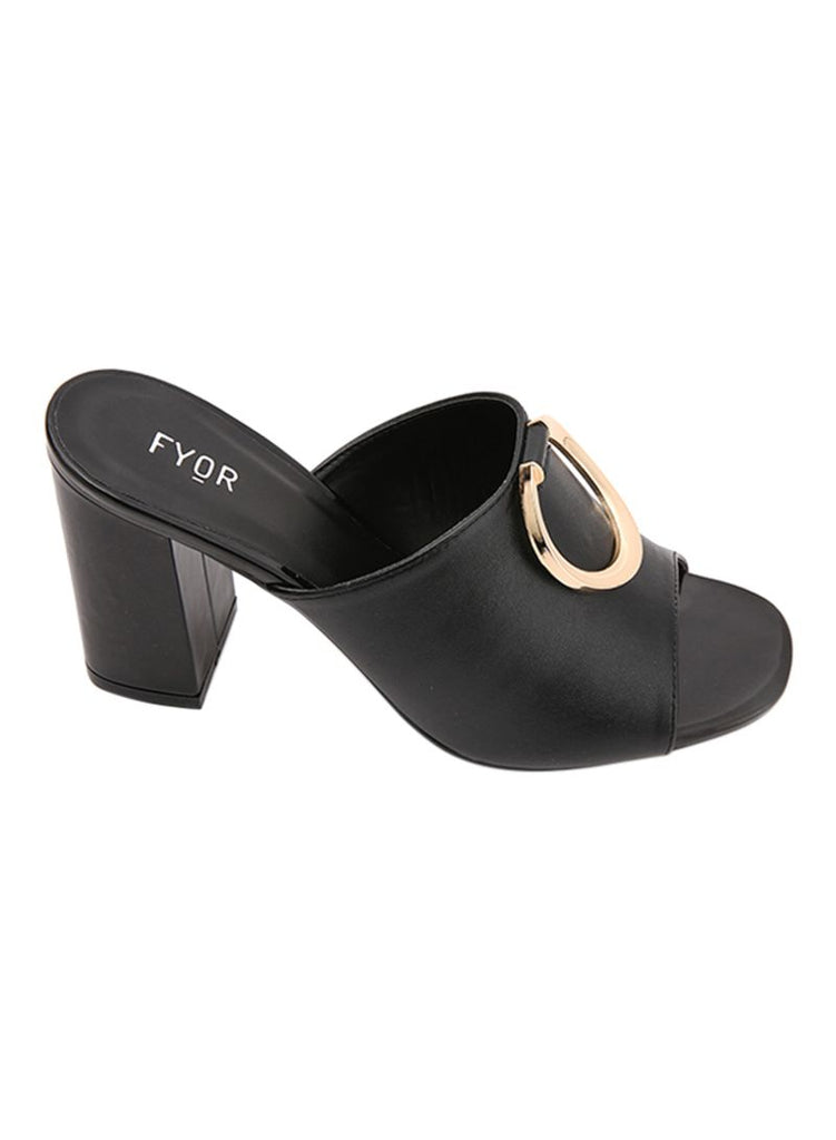 Metal Ring Sleek Block Heel Black Sandal