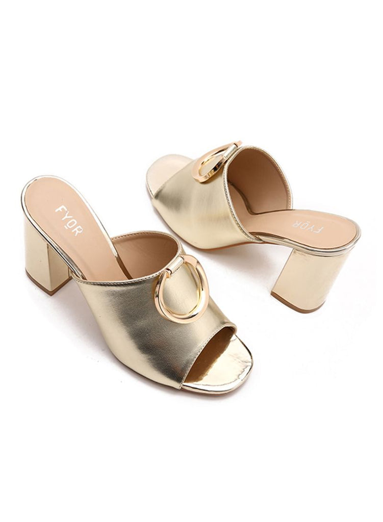 Metal Ring Sleek Block Heel Gold Sandal