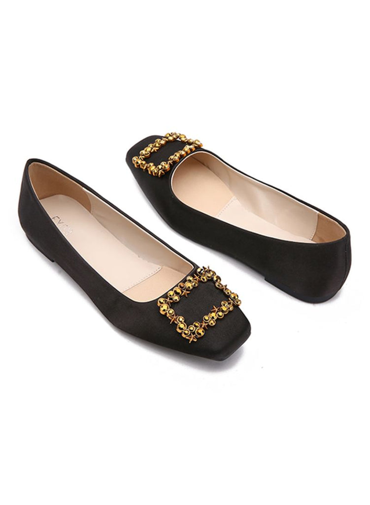 Square Stud Black Ballerinas