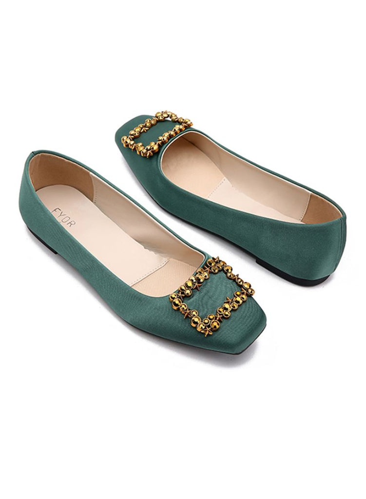 Square Stud Green Ballerinas