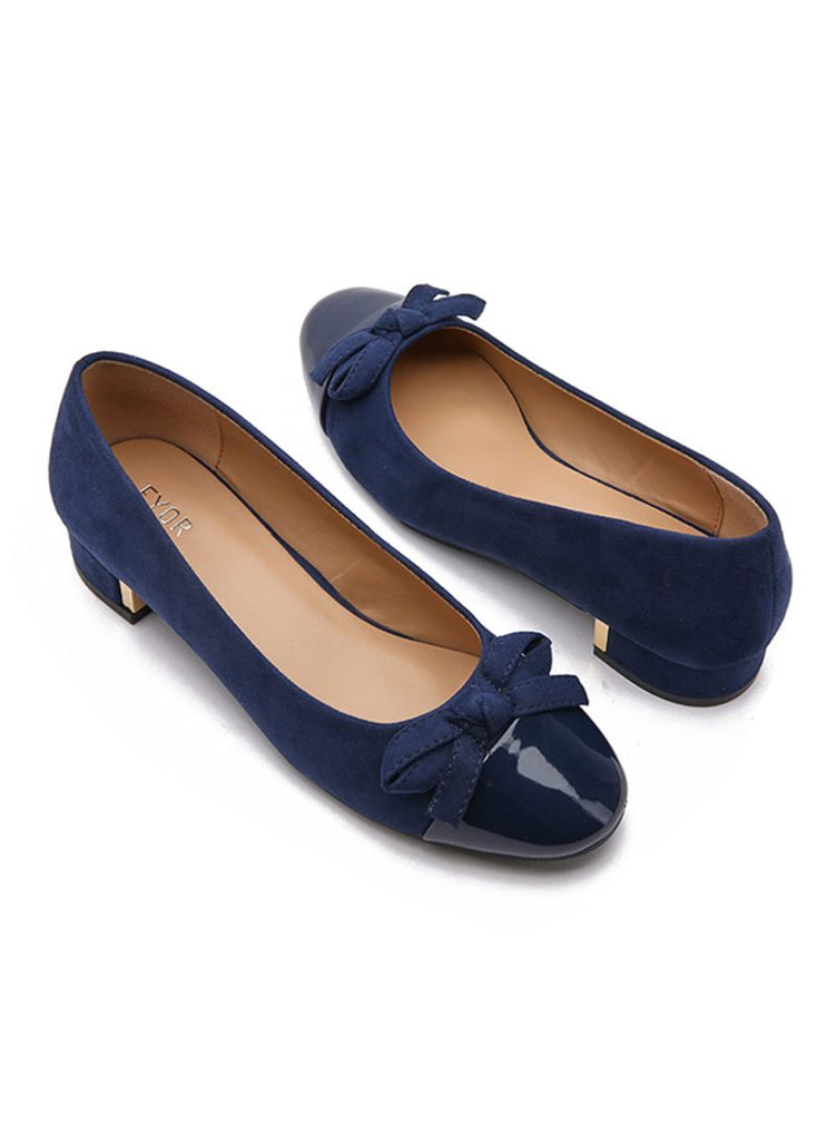 Bow Design Navy Ballerinas