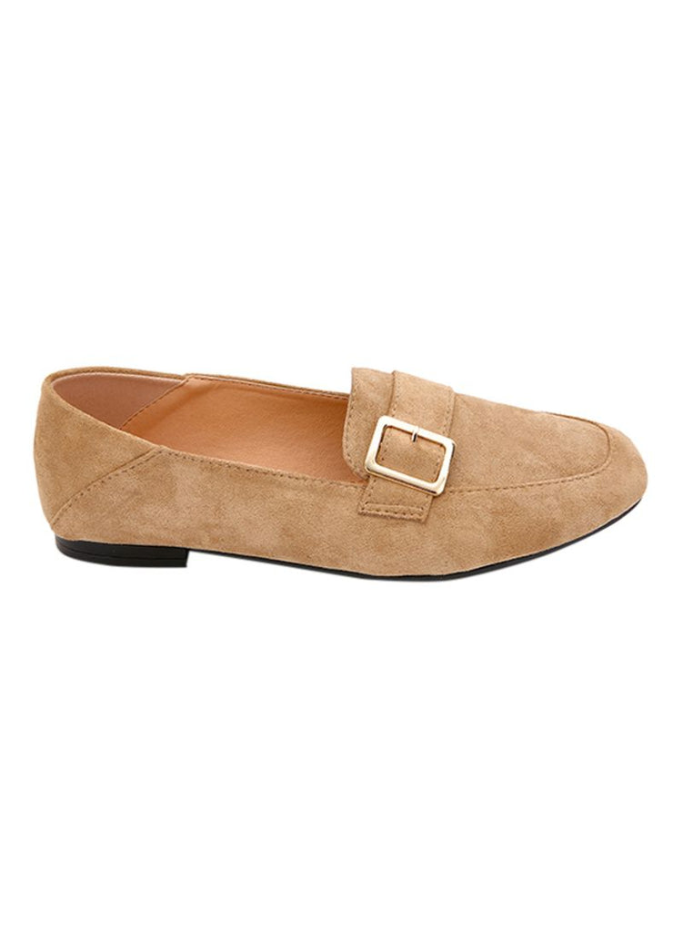 Suede Beige Side Buckle Moccassins