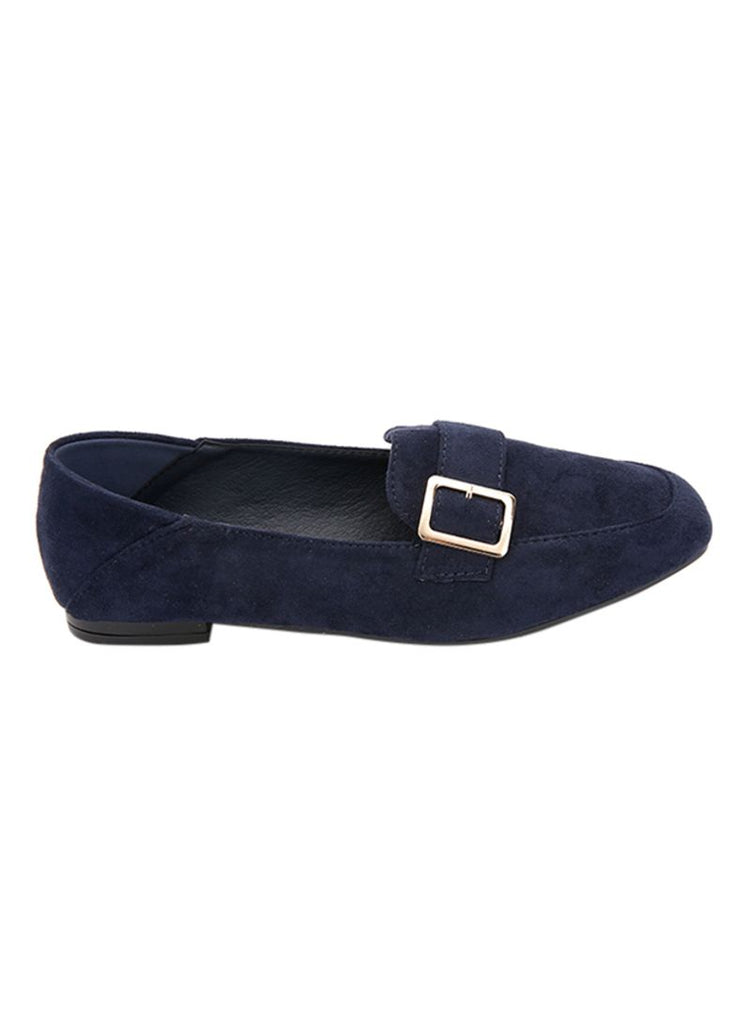 Suede Navy Side Buckle Mocassins