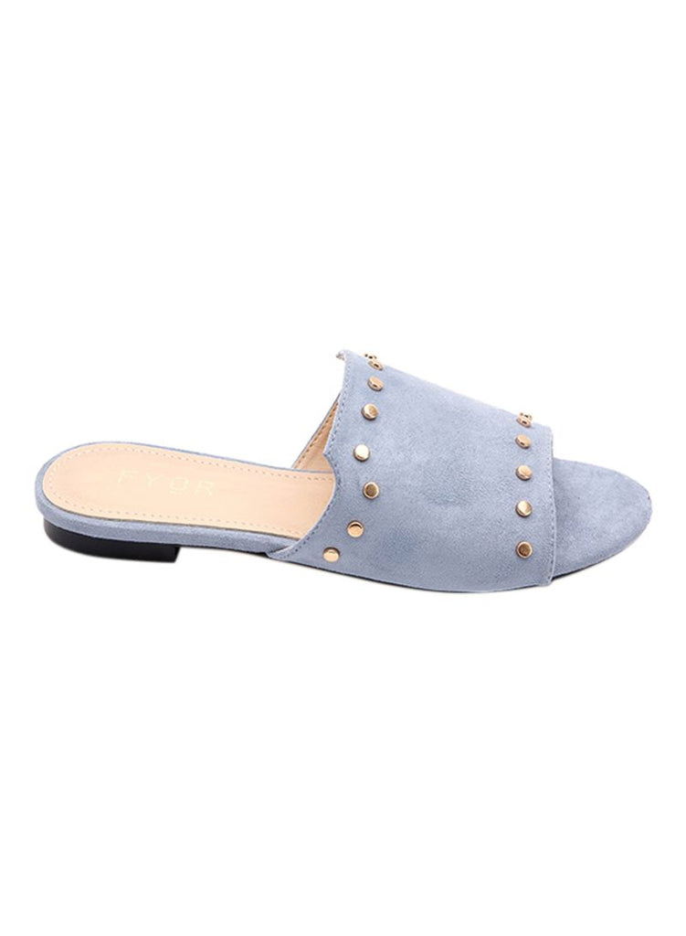 Light Blue Suede Slip On Slides
