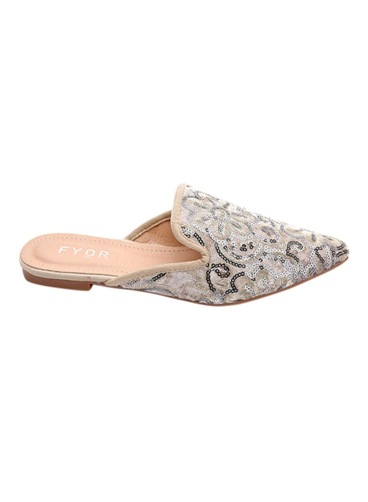 Fine Embroidered Peach Slip On