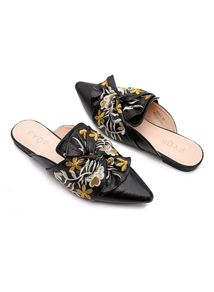 Floral Embroidered Pointed Silver Slip On