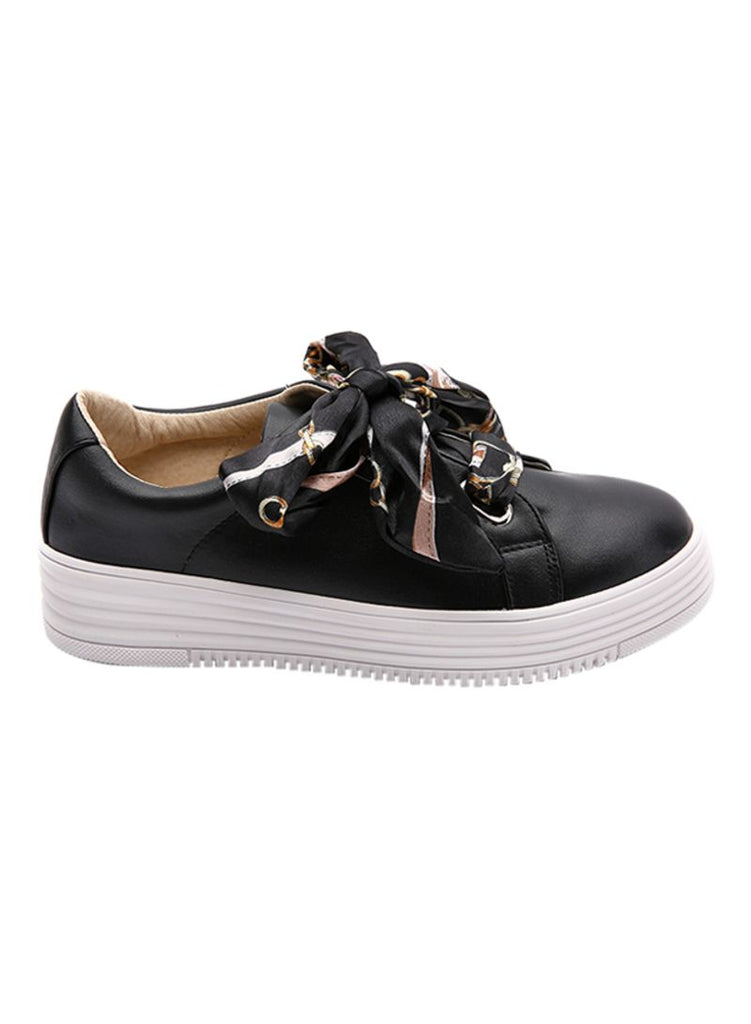 Satin Ribbon Lace Black Sneakers