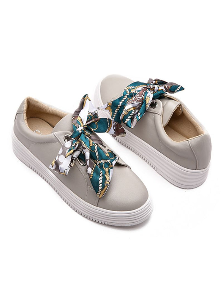 Satin Ribbon Lace Grey Sneakers