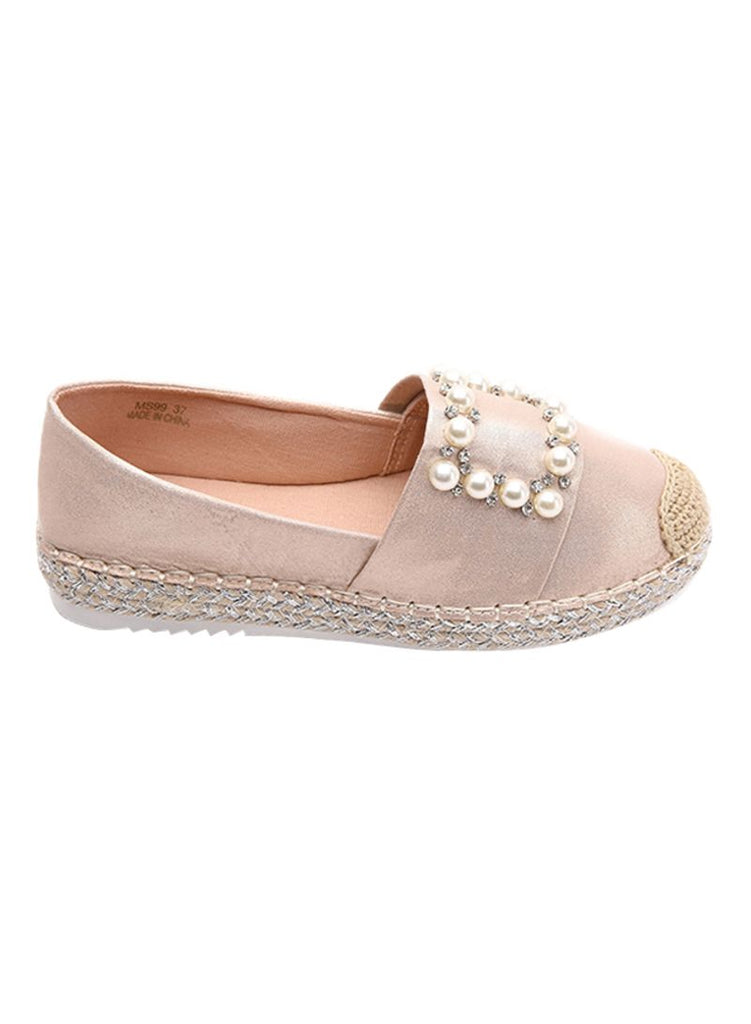 Pearl Studded Pink summer Slip On