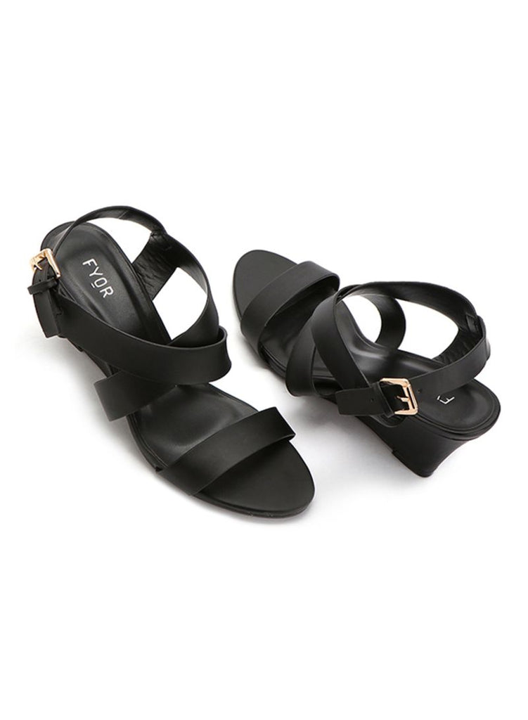 Black Wedge Heels Sandal