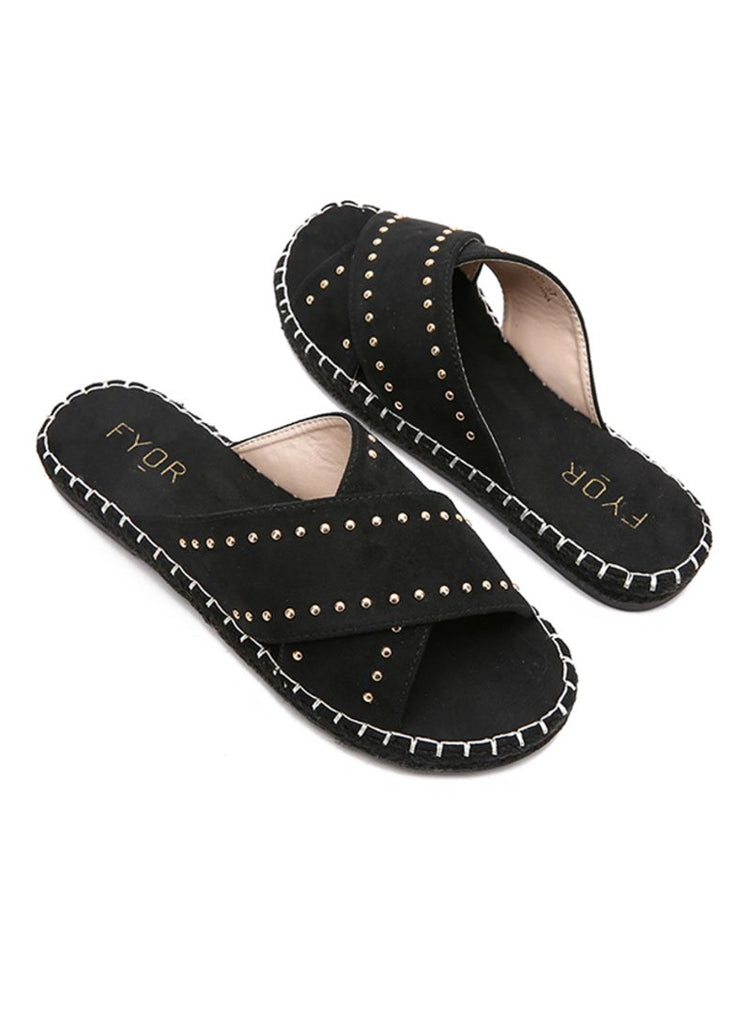 Black Criss Cross Slides
