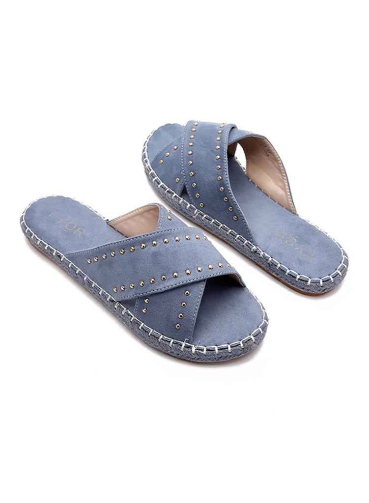 Blue Criss Cross Slides