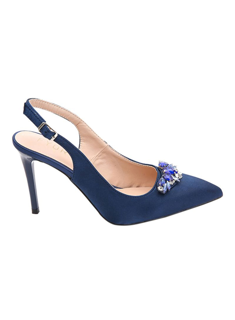 Navy Pointed Crystal Slingback Heels