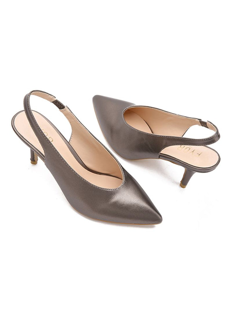 Grey Pointed Sling Back Sandal