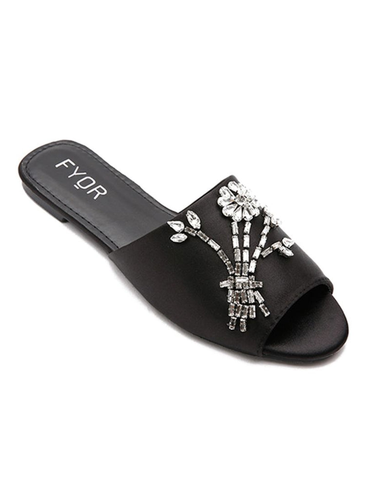 Floral Sequined Black Slides
