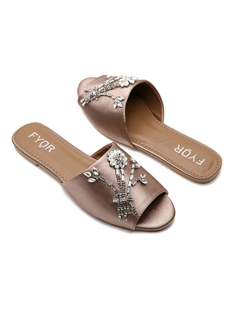 Floral Sequined Brown Slides