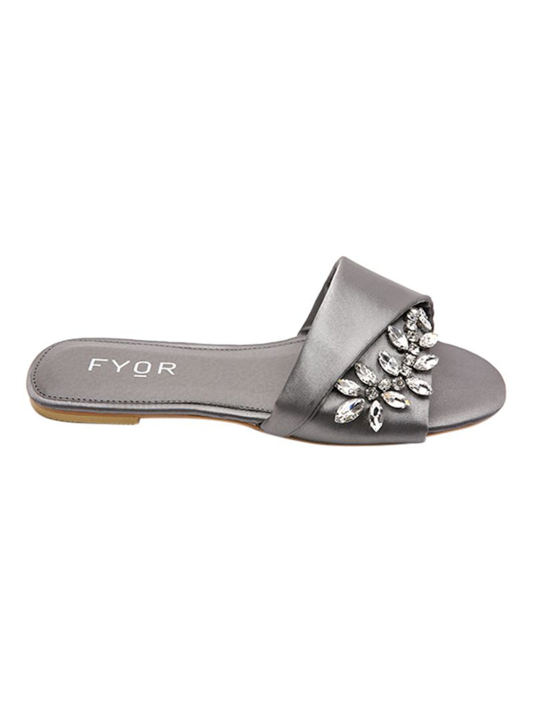Crystal Floral Studded Silver Flats