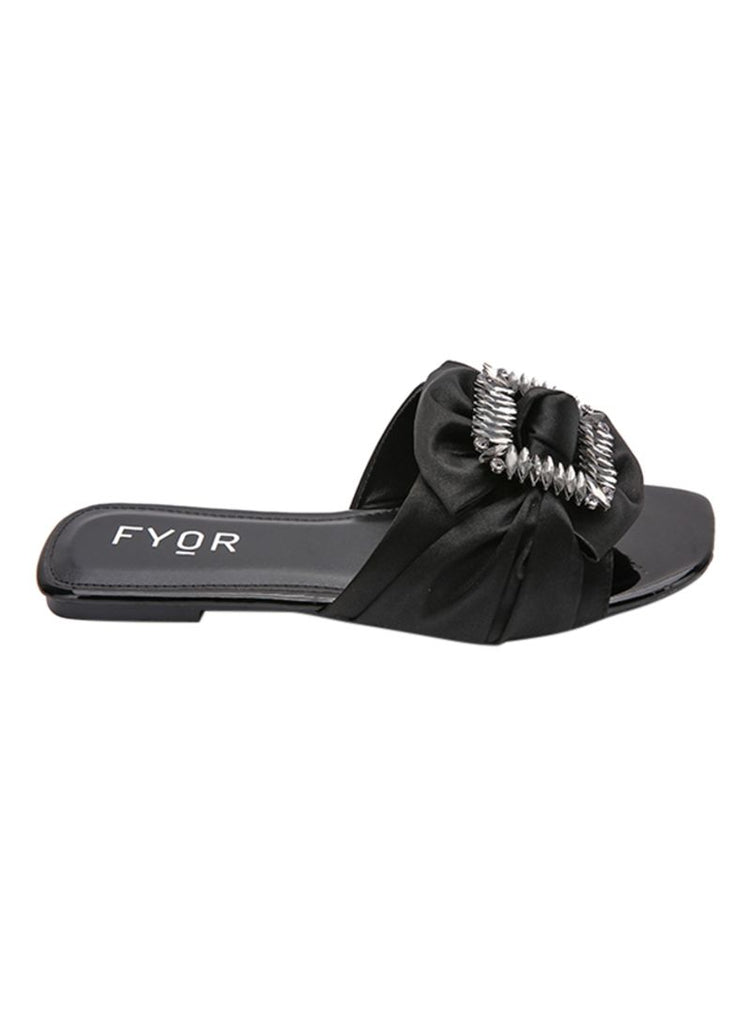 Satin Ribbon With Crystal Studs Black Slip On