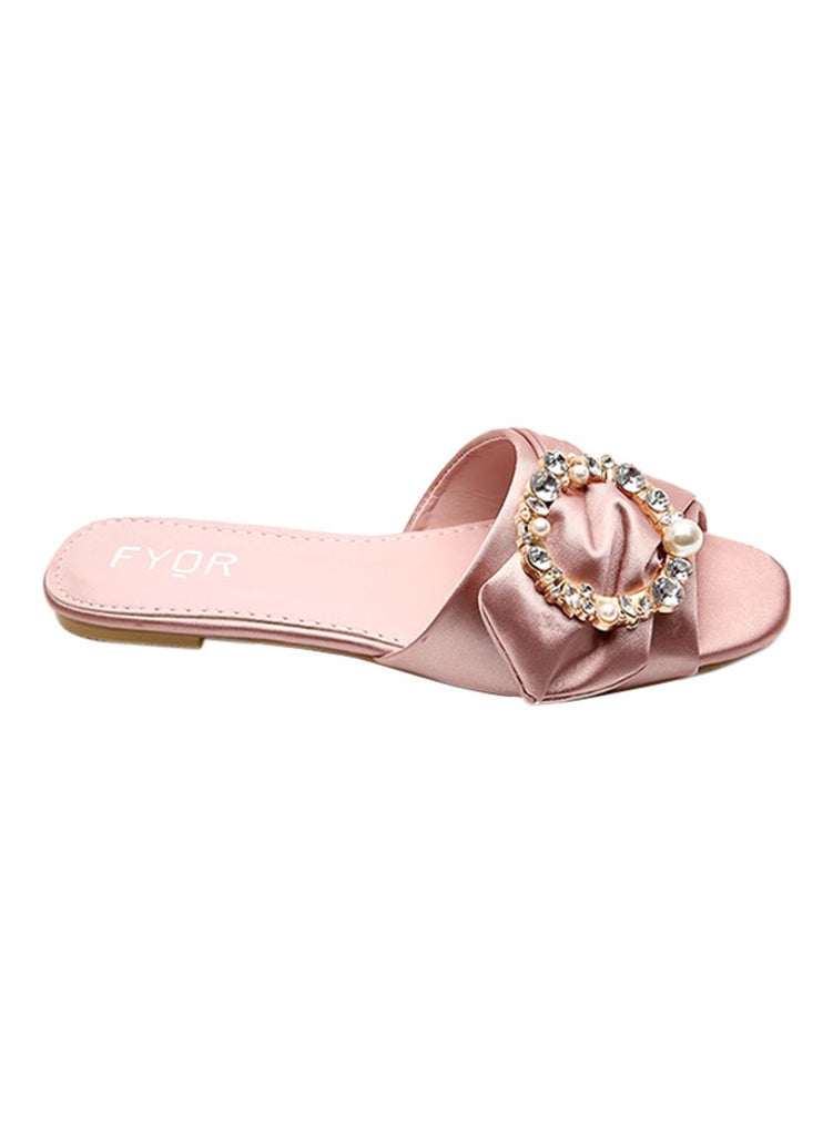Pearl Studded Pink Slip On