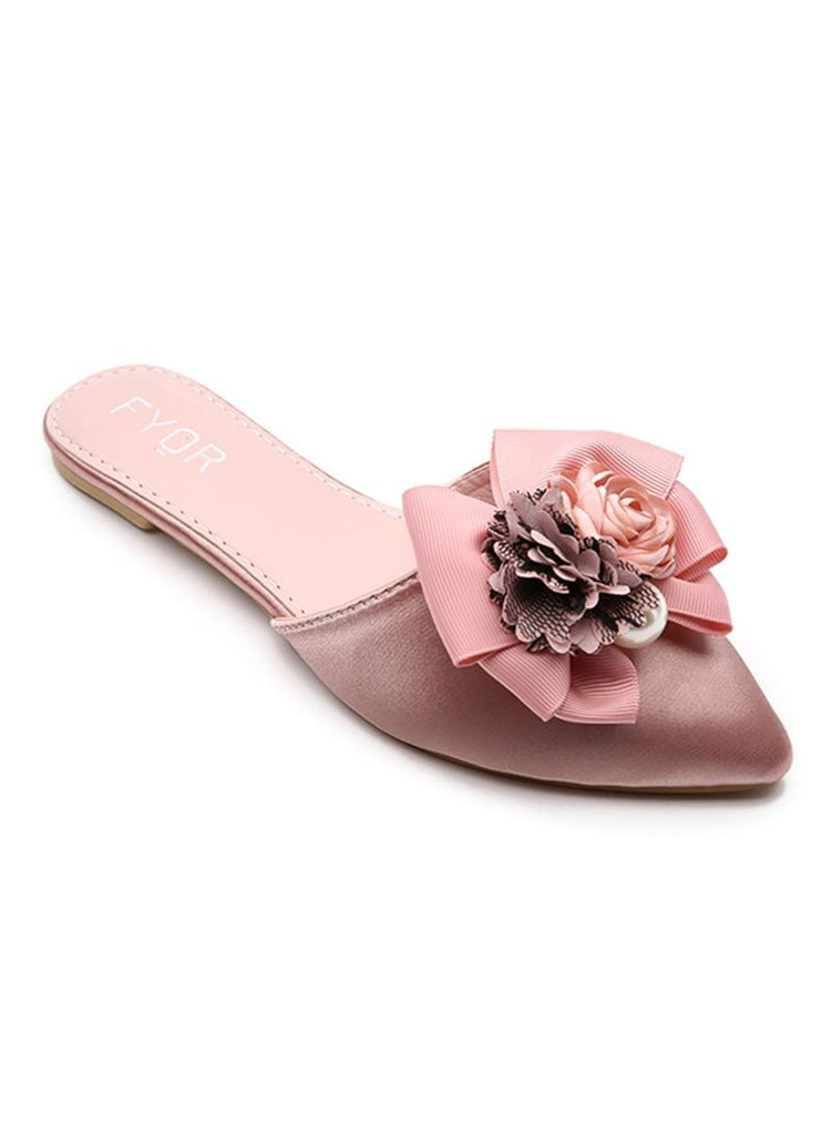 Pointed Bow & Floral Pink Slip On
