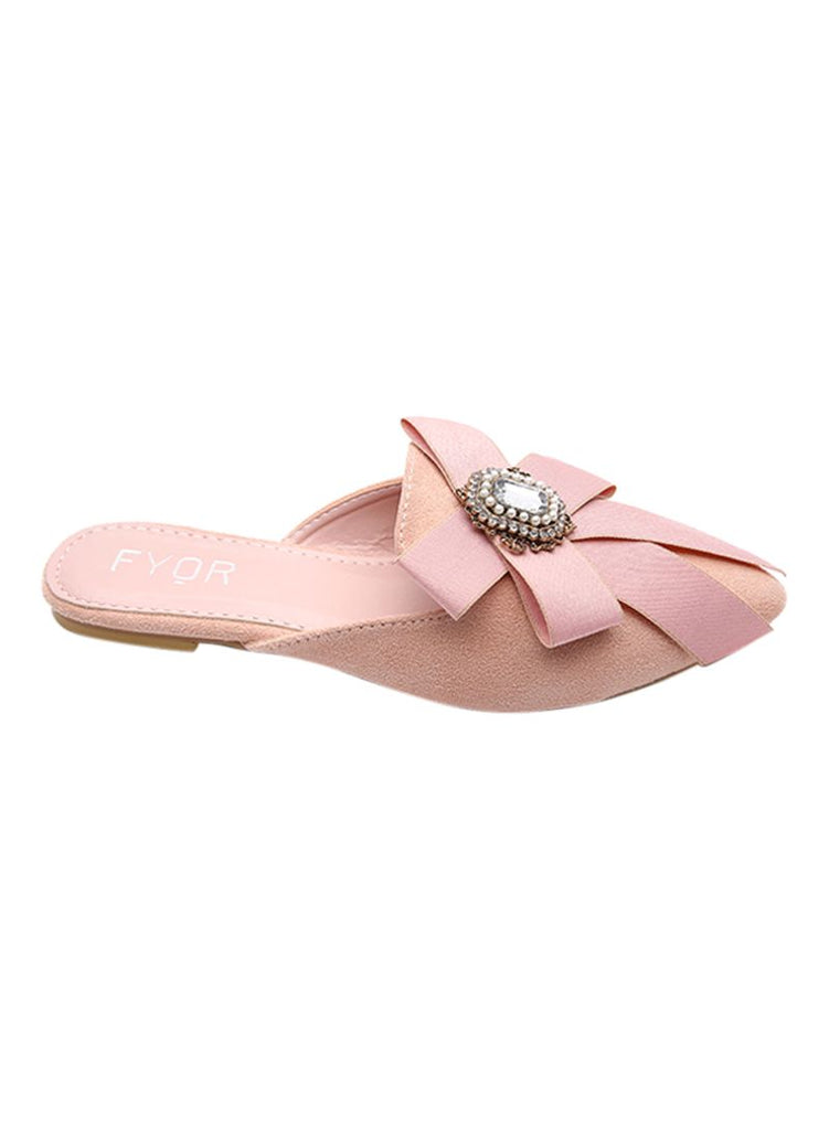 Crystal Studded Ribbon Pink Sandal