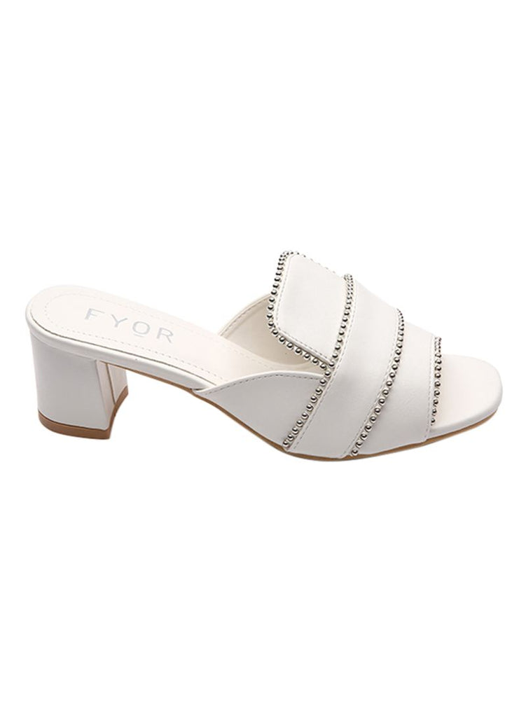 Metal Studded White Sandal