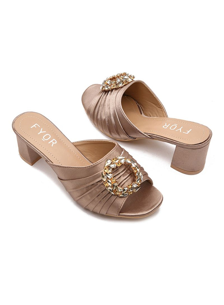 Crystal Stone Ring khaki Sandals