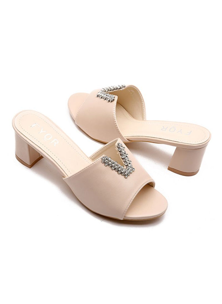 Stone studded V-Shaped Beige Sandals