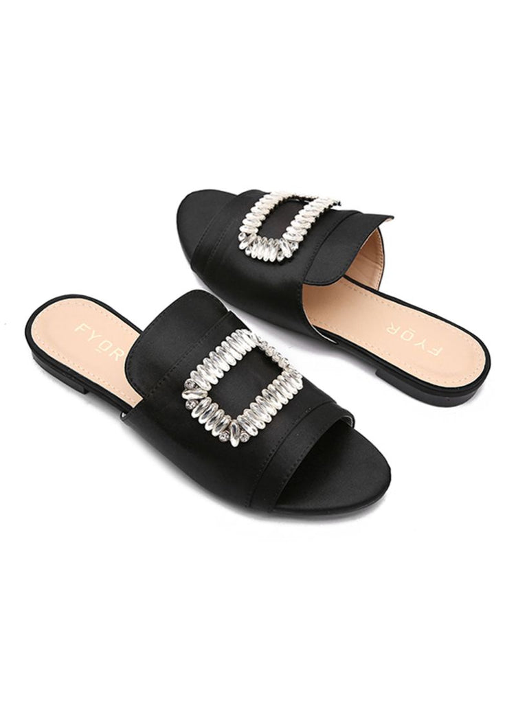 Crystal Studded Slides Pink