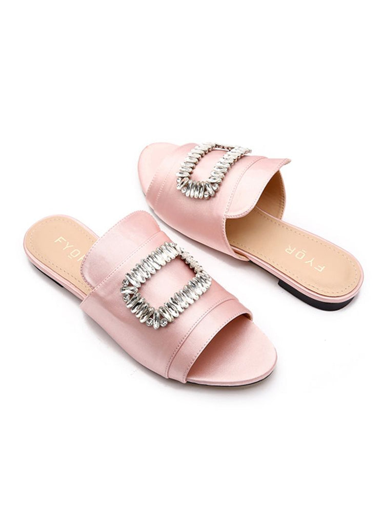 Crystal Studded Slides Black