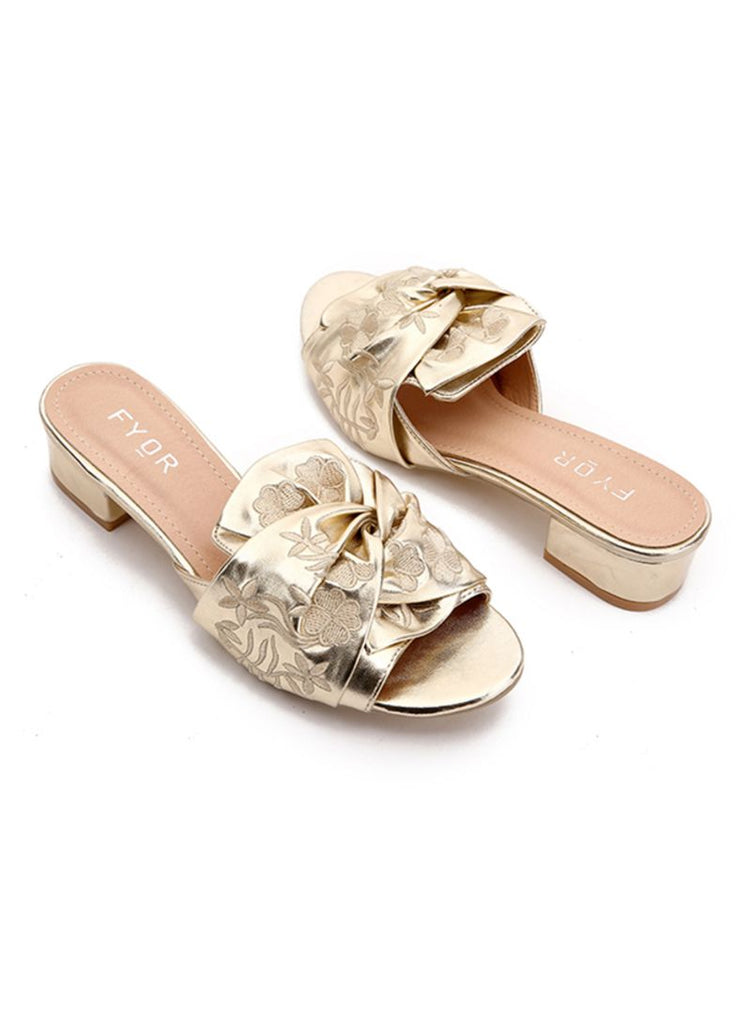 Embroidered Bow Heeled Sandals Gold
