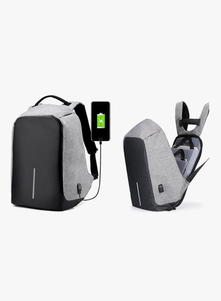 Anti Theft Laptop Backpacks With USB Charging Grey