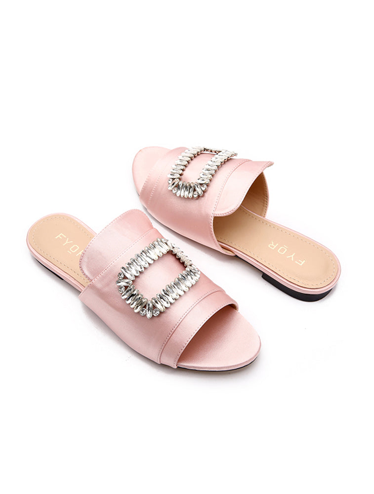 Crystal Cap Up Pink Flats