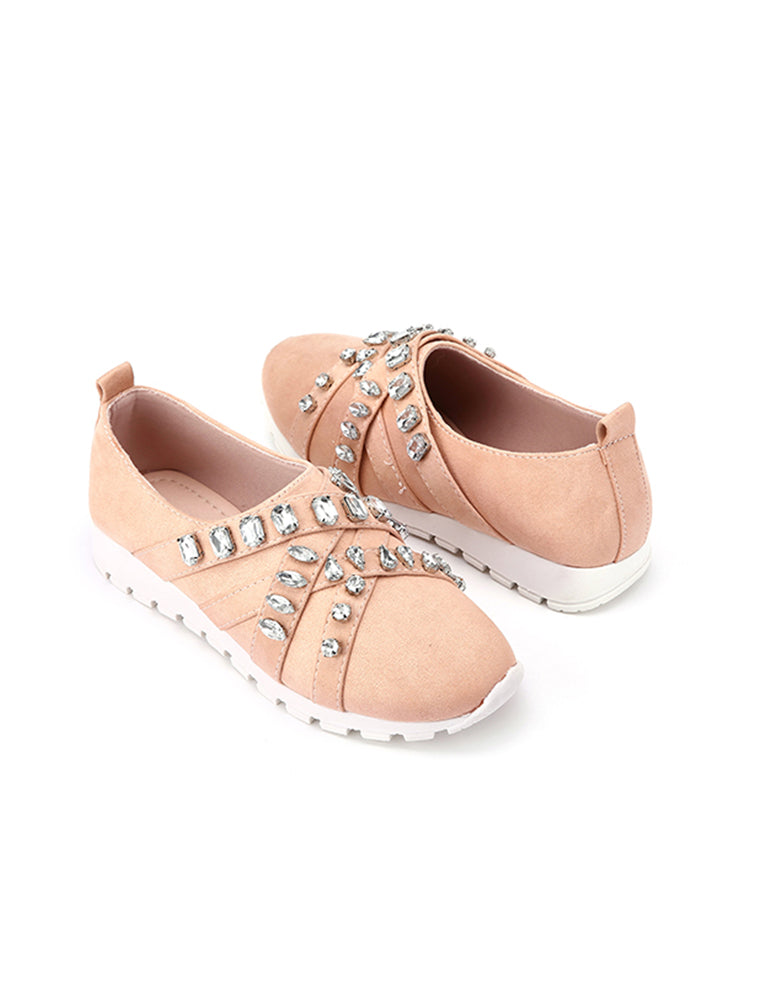 Stone Studded Closed Pink Slip On