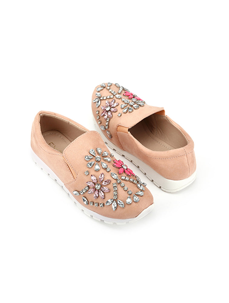 Crystal Floral Studded Closed Pink Shoe