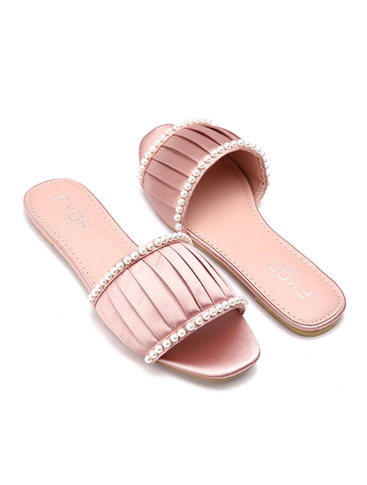 Ribbon Plated Pearl Pink Flats