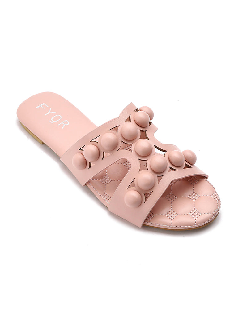 Bubble Studded Pink Slides