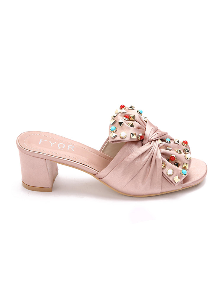 Satin Tie Jewel Studded Pink Sandal