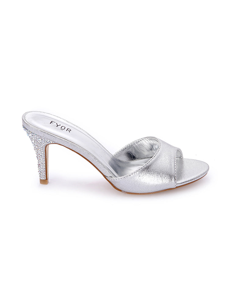 Crystal Studded Low Silver  Heel