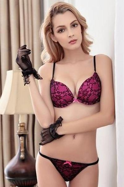Sophia Milano Black Lace Bra and Panty Set