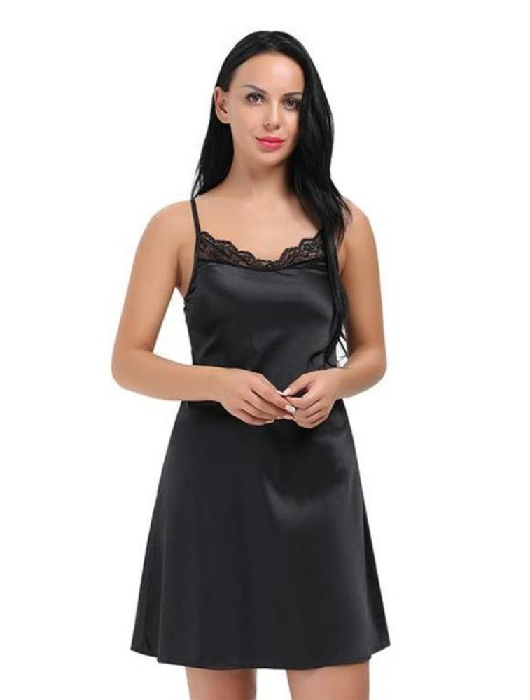 KoKo Satin Lace Trimmed Negligee - MondayBloom.com